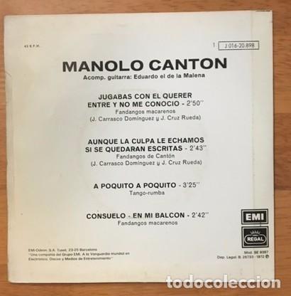 Discos de vinilo: MANOLO CANTÓN - FANDANGOS MACARENOS - 1972 - Foto 2 - 97760859