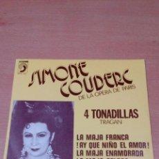 Discos de vinilo: RARO - SIMONE COUDERC - DE LA OPERA DE PARIS - 4 TONADILLAS TRAGAN- BUEN ESTADO - VER FOTOS. Lote 97807811