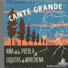 Discos de vinilo: NIÑA DE LA PUEBLA Y LUQUITAS DE MARCHENA EP EDITADO EN ESPAÑA SELLO ORPHEO AÑO 1958. Lote 97858699