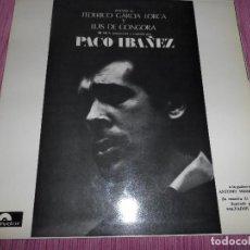 Discos de vinilo: PACO IBAÑEZ - POEMAS DE FEDERICO GARCÍA LORCA Y LUIS DE GÓNGORA. Lote 97863895
