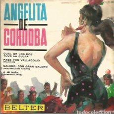 Discos de vinilo: ANGELITA DE CORDOBA EP SELLO BELTER AÑO 1965 EDITADO EN ESPAÑA. Lote 97885587