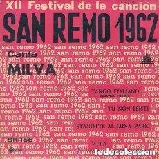 Discos de vinilo: MILVA – XII FESTIVAL DE LA CANCION DE SAN REMO 1962 - EP SPAIN. Lote 97988119