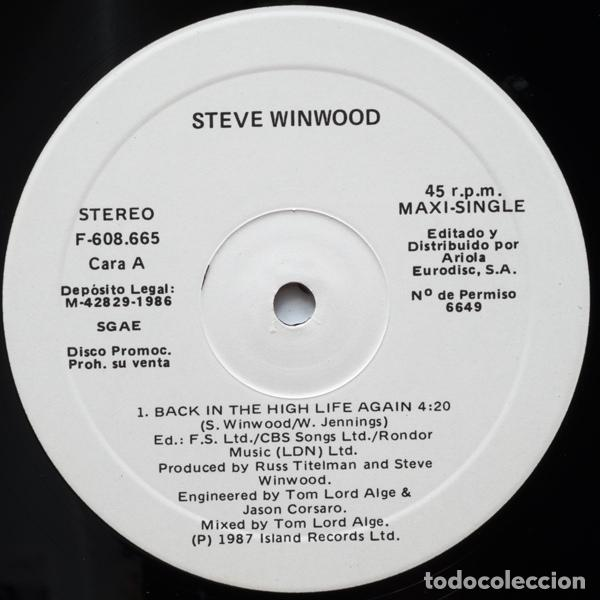Discos de vinilo: Steve Winwood ?– Back In The High Life Again - Foto 3 - 97996347