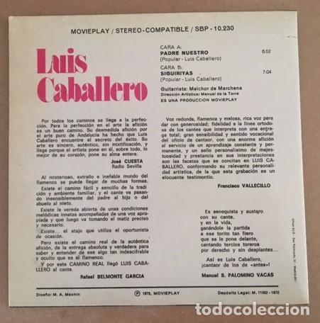 Discos de vinilo: LUIS CABALLERO - PADRE NUESTRO - 1972 - Foto 2 - 98017987