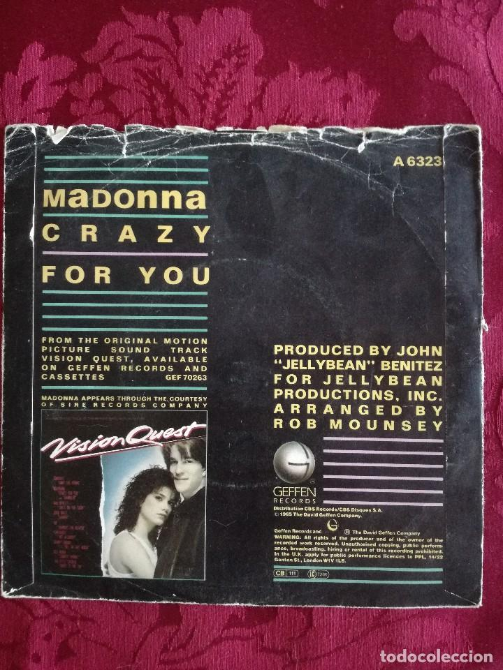 Discos de vinilo: SINGLE MADONNA VINILO CRAZY FOR YOU - Foto 2 - 98047343