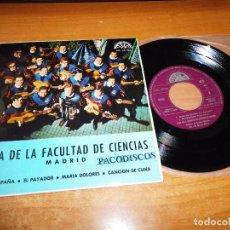 Discos de vinilo: TUNA DE LA FACULTAD DE CIENCIAS DE MADRID OJOS DE ESPAÑA EP VINILO 1968 EL PAYADOR MARIA DOLORES. Lote 98075783