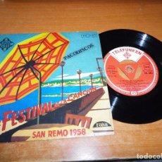 Discos de vinilo: 8º FESTIVAL DE LA CANCION DE SAN REMO 1958 DOMENICO MODUGNO EP VINILO ESPAÑA 4 TEMAS TRIANGULO RARO. Lote 98082863