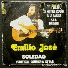 Discos de vinilo: EMILIO JOSE (SINGLE 1973) SOLEDAD 1º PREMIO XV FESTIVAL DE BENIDORM. Lote 98090983