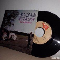 Discos de vinilo: BEE GEES -HE,S A LIAR- ES UN MENTIROSA-AÑO 1981 -MADRID RSO. Lote 98205547