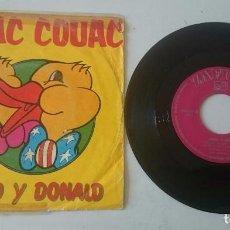 Discos de vinilo: RONALD Y DONALD: COUAC COUAC / PUSSYCAT (ZAFIRO 1974). Lote 98418291