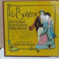 Discos de vinilo: LA BOHÈME - ORQUESTA FILARMÓNICA DE BERLÍN - HERBERT VON KARAJAN (1973). Lote 98486311