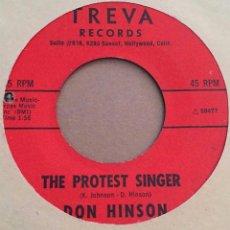 Discos de vinilo: DON HINSON- PROTEST SONG+1 - USA 60S. Lote 98496259