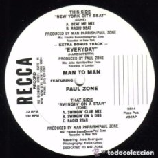 Discos de vinilo: MAN TO MAN FEATURING PAUL ZONE: NEW YORK CITY BEAT / SWINGIN' ON A STAR - MAXI HI NRG, US 1988. Lote 98578623