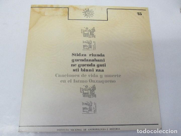 Discos de vinilo: CANCIONES DE VIDA Y MUERTE EN EL ISTMO OAXAQUEÑO. STIDXA RIUNDA. GUENDANABANI. NE GUENDA GUTI - Foto 2 - 154603446