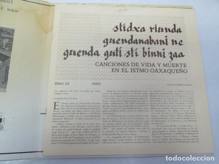 Discos de vinilo: CANCIONES DE VIDA Y MUERTE EN EL ISTMO OAXAQUEÑO. STIDXA RIUNDA. GUENDANABANI. NE GUENDA GUTI - Foto 4 - 154603446