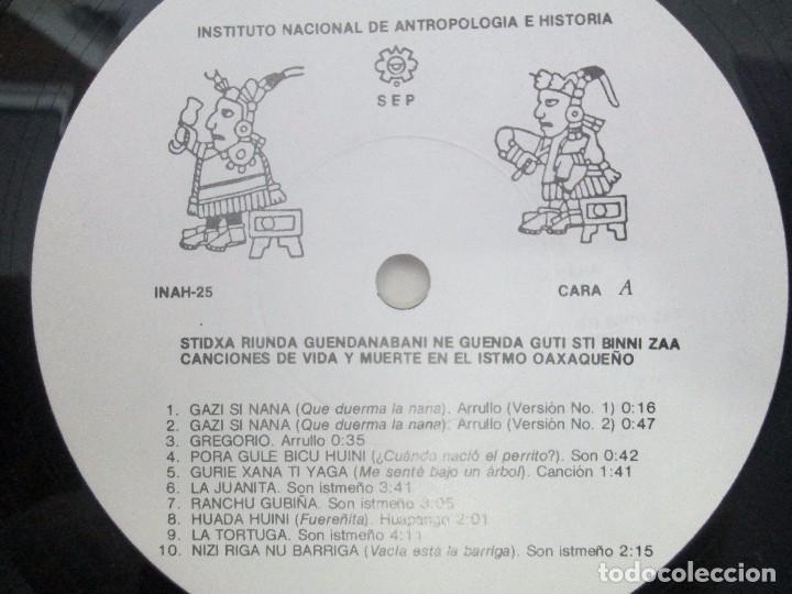 Discos de vinilo: CANCIONES DE VIDA Y MUERTE EN EL ISTMO OAXAQUEÑO. STIDXA RIUNDA. GUENDANABANI. NE GUENDA GUTI - Foto 10 - 154603446