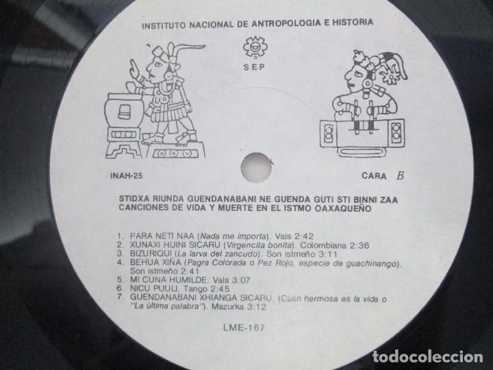 Discos de vinilo: CANCIONES DE VIDA Y MUERTE EN EL ISTMO OAXAQUEÑO. STIDXA RIUNDA. GUENDANABANI. NE GUENDA GUTI - Foto 12 - 154603446