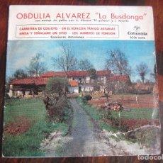 Discos de vinilo: OBDULIA ALVAREZ, LA BUSDONGA. CON ACOMPAÑAMIENTO DE GAITAS POR A. ALVAREZ EL GAITERO Y J. ALVAREZ. S. Lote 98613719