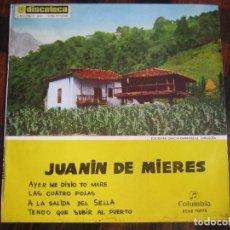 Discos de vinilo: JUANIN DE MIERES. SINGLE CON 4 CANCIONES ASTURIANAS. COLUMBIA 1969.. Lote 98613787