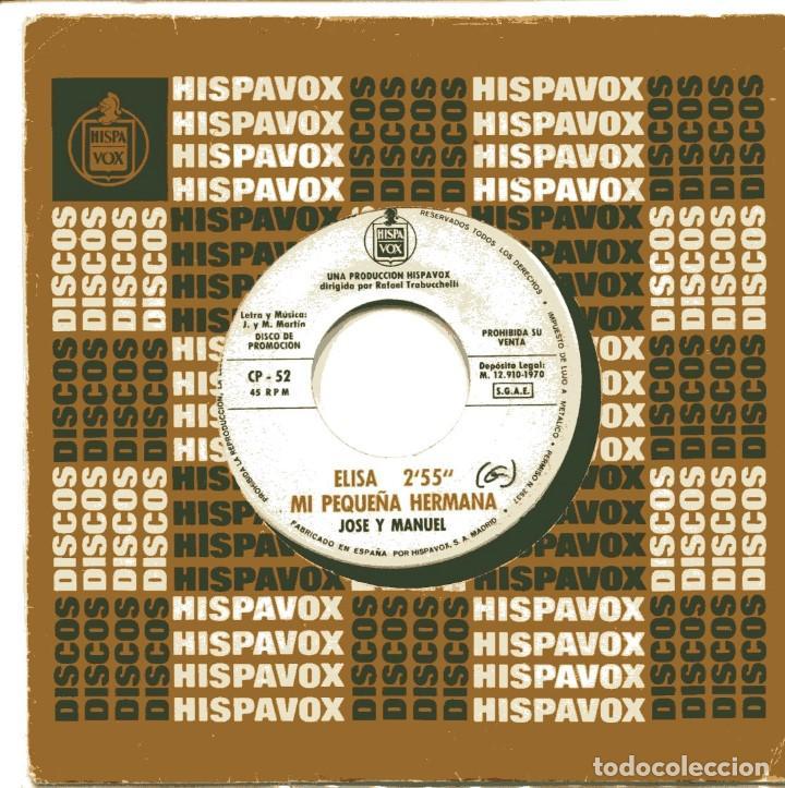 JOSE Y MANUEL / ELISA / MI PEQUEÑA HERMANA / GERALDINE (EP PROMO 1970) (Música - Discos de Vinilo - EPs - Grupos Españoles de los 70 y 80)