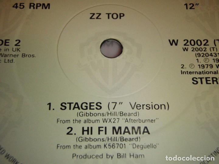 Discos de vinilo: ZZ TOP ( STAGES 2 VERSIONES - HI FI MAMA ) ENGLAND 1979/1985 MAXI45 WARNER BROS RECORDS - Foto 4 - 98864099