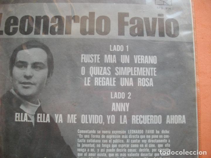 Discos de vinilo: LEONARDO FAVIO - FUISTE MIA EN VERANO + O QUIZAS SIMPLEMETE LE REGALE UNA ROSA + 2 EP MEJICO PEPETO - Foto 2 - 98928539