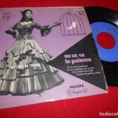 Discos de vinilo: IMPERIO DE TRIANA NO SE VA LA PALOMA/SI ME ENGAÑAS ME MUERO/A LA RUEDA MI CARIÑO +1 EP 195? PHILIPS. Lote 98961655
