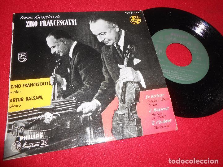 ZINO FRANCESCATTI+ARTUR BALSAM KREISLER+MASSENET+CHABRIER EP 1958 PIANO VIOLIN SPAIN (Música - Discos de Vinilo - EPs - Clásica, Ópera, Zarzuela y Marchas)