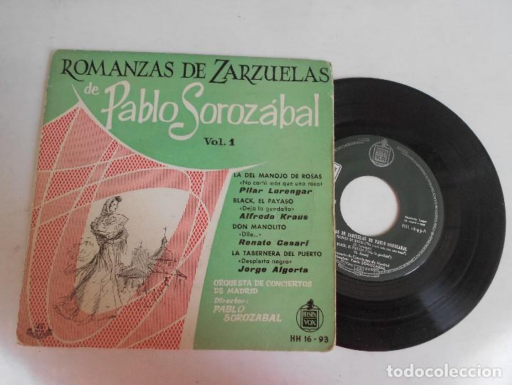 ROMANZAS DE ZARZUELAS DE PABLO SOROZABAL-EP (Música - Discos de Vinilo - EPs - Clásica, Ópera, Zarzuela y Marchas)