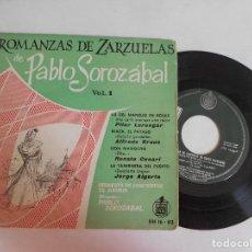 Discos de vinilo: ROMANZAS DE ZARZUELAS DE PABLO SOROZABAL-EP. Lote 99082707