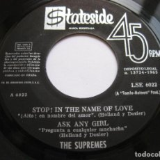Discos de vinilo: THE SUPREMES - EP SPAIN - STOP! IN THE NAME OF LOVE - STATESIDE LSE 6022. Lote 99224479