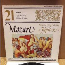 Discos de vinilo: LOS TESOROS DE LA MÚSICA CLÁSICA / 21 / W.A. MOZART - JÚPITER. LP / SARPE. ***/***. Lote 99238819