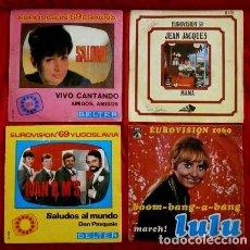 Discos de vinilo: EUROVISION 69 (LOTE 4 SINGLES 1969) INGLATERRA,ESPAÑA,MONACO,YUGOSLAVIA - IVAN & M'S, LULU, SALOME. Lote 99298411
