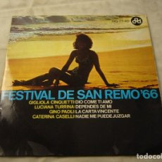 Discos de vinilo: DISCO SINGLE DE VINILO, FESTIVAL DE SAN REMO `66 , FUNDA BIEN ,VINILO BIEN.. Lote 99352003