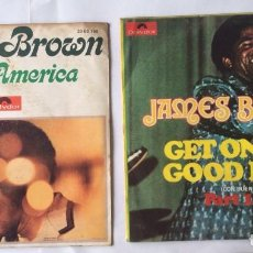 Discos de vinilo: JAMES BROWN 2 SINGLES - HEY AMERICA - GET ON THE GOOD FOOT . Lote 99437507