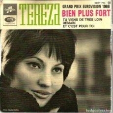 Discos de vinilo: EP TEREZA : BIEN PLUS FORT ( GRAND PRIX EUROVISION 1966 ). Lote 99455791