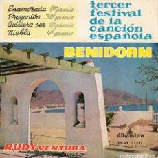 Discos de vinilo: RUDY VENTURA - FESTIVAL DE BENIDORM, EP, ENAMORADA + 3, AÑO 1961. Lote 99662183