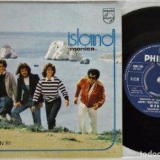 Discos de vinilo: ISLAND - MONICA + LET ME GO - SINGLE - PHILIPS 1981 EUROVISION GREECE COMO NUEVO. Lote 99784571
