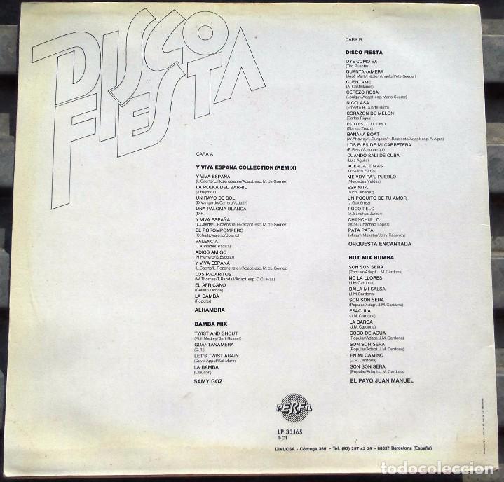 Discos de vinilo: VINILO LP DISCO FIESTA - Y VIVA ESPAÑA COLLECTION, BAMBA MIX, DISCO FIESTA, HOT MIX RUMBA,1982 - Foto 2 - 99952967