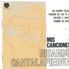 Discos de vinilo: RICARDO CANTALAPIEDRA / UN HOMBRE VULGAR + 3 (EP 1968). Lote 100016319