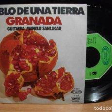 Discos de vinilo: GRANADA -HABLO DE UNA TIERRA , MANOLO SANLUCAR MOVIEPLAY 1975 SINGLE NUEVO¡¡ PEPETO. Lote 100092887