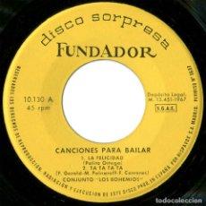 Discos de vinilo: LOS BOHEMIOS ?– CANCIONES PARA BAILAR (SUZIE-Q) - EP SPAIN 1967 - DISCO SORPRESA FUNDADOR ?10.130. Lote 100223343