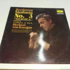 Discos de vinilo: KARAJAN- LP BEETHOVEN SINFONIA N°3 HEROICA- POLYDOR 1963 2. Lote 100300124