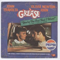Discos de vinilo: GREASE_YOU'RE THE ONE THAT I WANT_JOHN TRAVOLTA & OLIVIA NEWTON-JOHN_PEPSI_SPAIN SINGLE PROMO!!!!!!. Lote 100353815