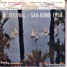 Discos de vinilo: DOMENICO MODUGNO / NATALINO OTTO / LICIA MOROSINI – 8º FESTIVAL, EP BARCLAY FRANCE- (SOLO CARATULA). Lote 100367099