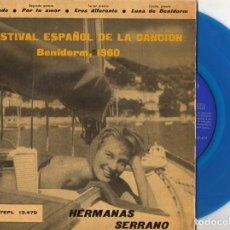 Discos de vinilo: HERMANAS SERRANO - FESTIVAL DE BENIDORM, EP, COMUNICANDO + 3, AÑO 1960. Lote 100383607