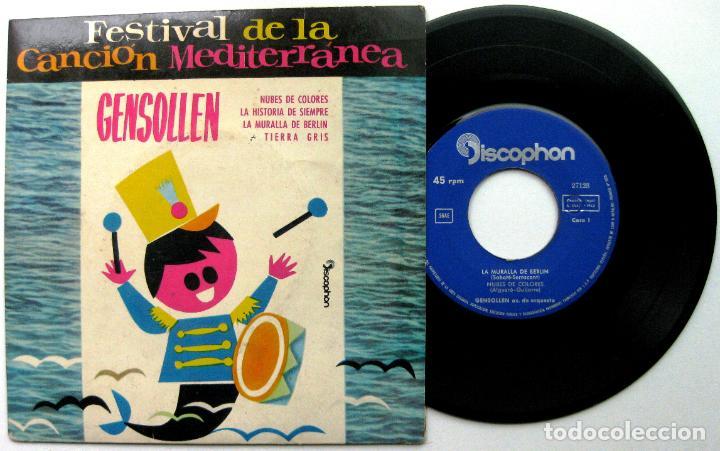 GENSOLLEN - FESTIVAL DE LA CANCIÓN MEDITERRÁNEA - LA MURALLA DE BERLÍN +3 - EP DISCOPHON 1962 BPY (Música - Discos de Vinilo - EPs - Otros Festivales de la Canción)
