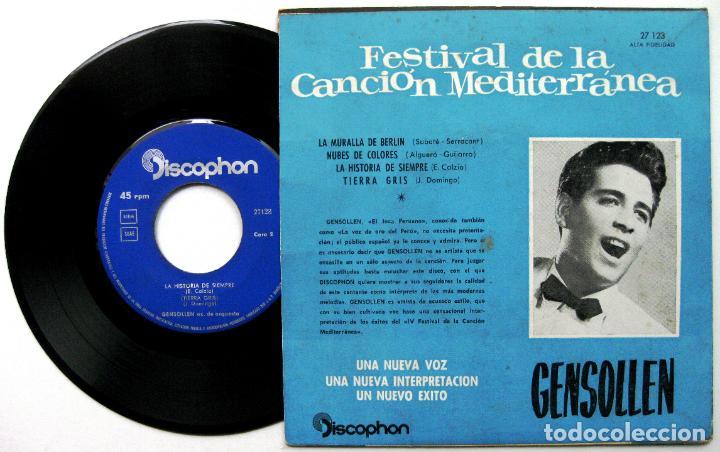 Discos de vinilo: Gensollen - Festival De La Canción Mediterránea - La Muralla De Berlín +3 - EP Discophon 1962 BPY - Foto 2 - 100384095