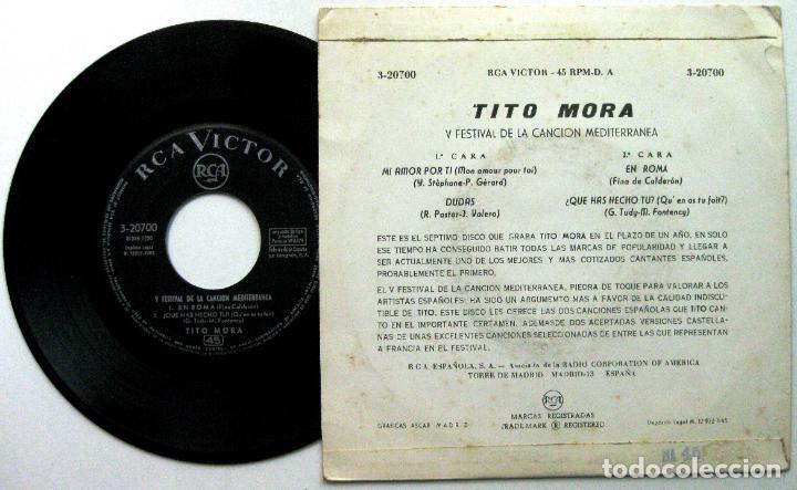 Discos de vinilo: Tito Mora - V Festival De La Canción Mediterránea - Mi Amor Por Ti +3 - EP RCA Victor 1963 BPY - Foto 2 - 100384499