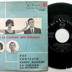Disques de vinyle: LOS TNT - V FESTIVAL DE LA CANCIÓN MEDITERRÁNEA - PAZ +3 - EP RCA VICTOR 1963 BPY. Lote 100384895